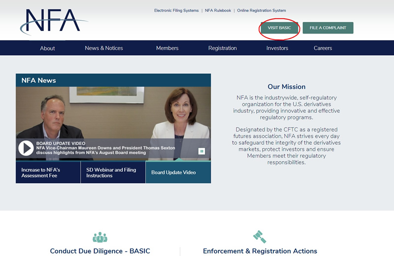 "打开NFA监管官方网站,点击""VISIT BASIC"""